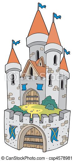 Cartoon castle with fortification - csp4578981