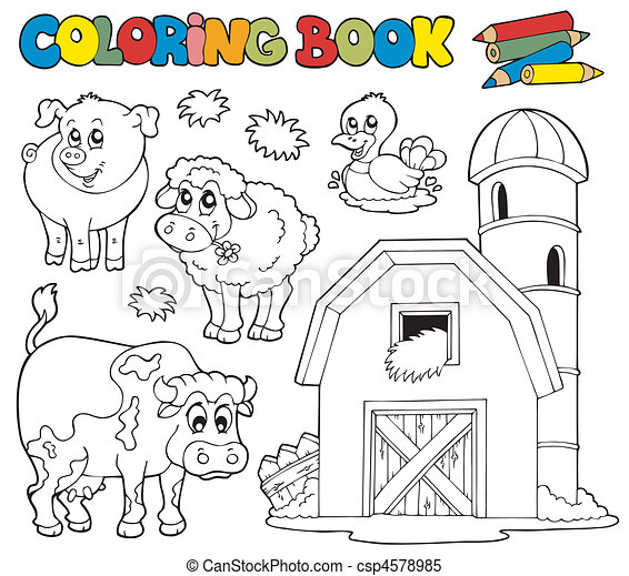 Coloring book with farm animals 1 - csp4578985