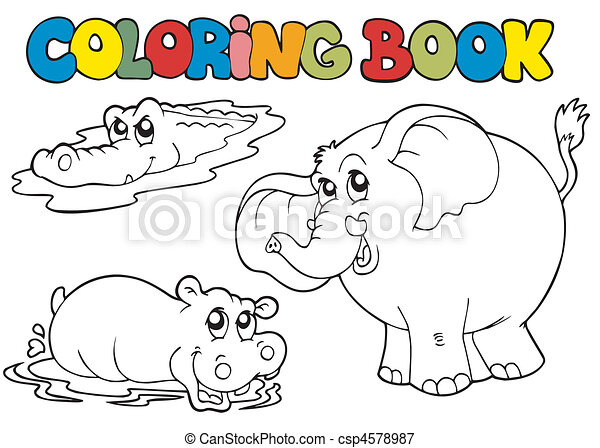 Coloring book with tropic animals 1 - csp4578987
