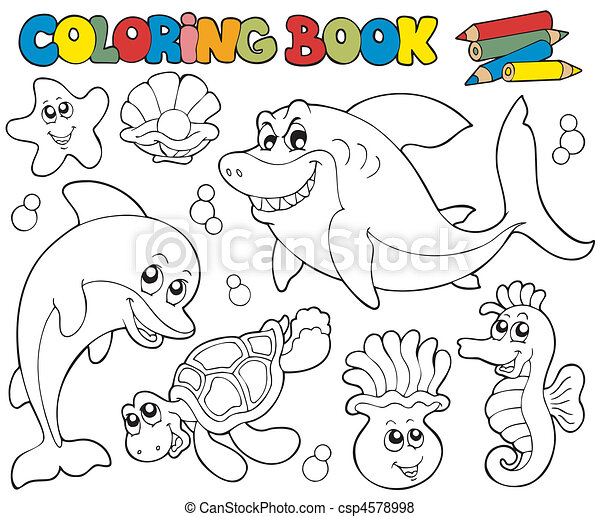 Coloring book with marine animals 2 - csp4578998