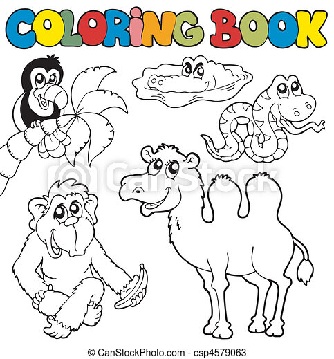 Coloring book with tropic animals 3 - csp4579063