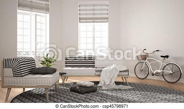 stock illustrationen von teppich, wohnzimmer, minimalist, sessel ... - Wohnzimmer Sessel Modern