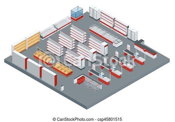 Supermarkt gebäude clipart  Vektor Clip Art von isometrisch, vektor, supermarkt - Vector ...