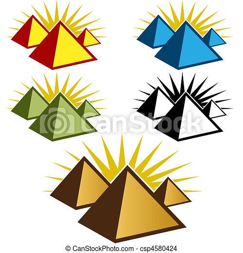 pirámide, icono, Conjunto - csp4580424