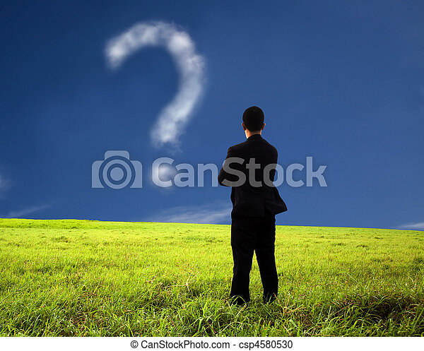 businessman thinking and watching the question mark.the  composition of the cloud - csp4580530