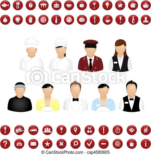 Restaurant People Icons And Map Icons Vector Set - csp4580605