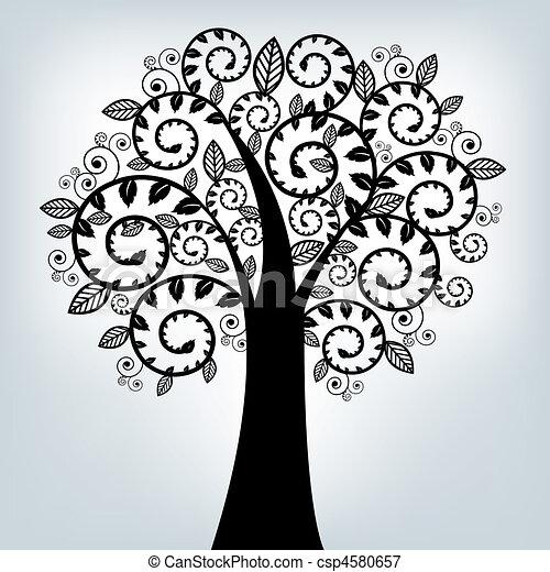 Black Stylized Tree - csp4580657