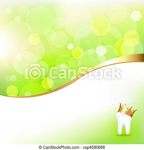 Dental Background With Tooth In Golden Crown - csp4580688