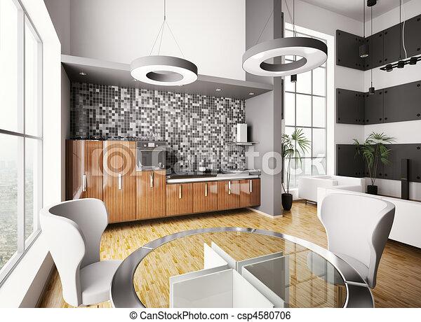 Stock illustratie van interieur moderne keuken 3d for Keuken plannen in 3d