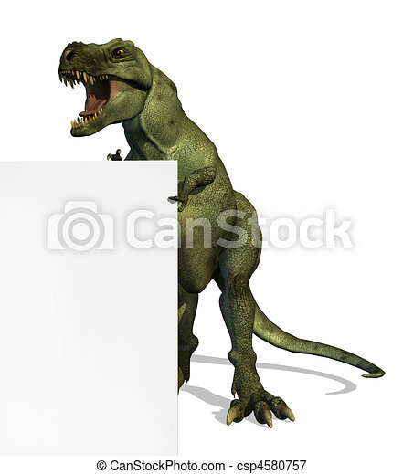 T-Rex on the Edge of a Blank Sign - csp4580757