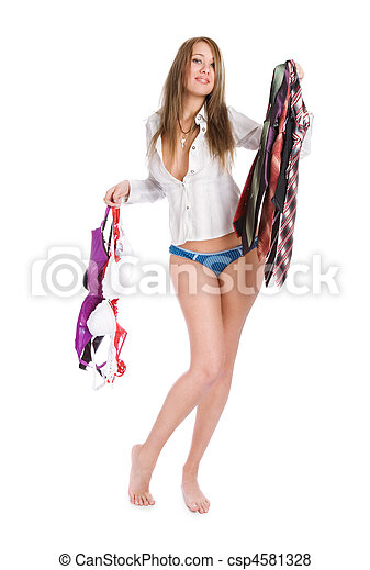 Beautiful girl chooses a garment - csp4581328