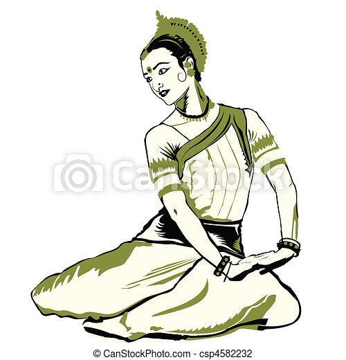 Clip Art of indian dance performer - Woman performing ...