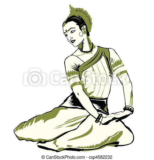 Kathak Dance Drawing Indian Dance Performer