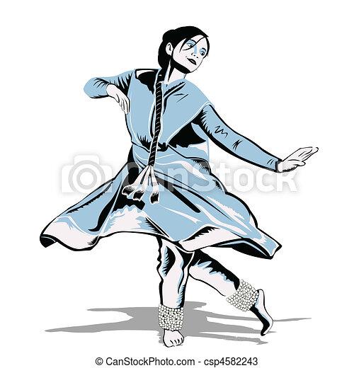 Kathak Dance Drawing Indian Dancer Csp4582243