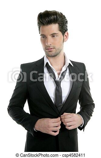 guapo, joven, hombre, Traje, casual, corbata, Traje - csp4582411