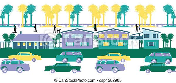 Stock Illustrations of housing society - city life csp4582905 ...