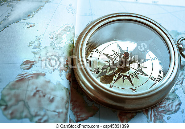 Compass on map background - csp45831399