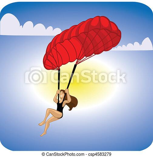 Stock Illustration of adventure sports parachute - para ...