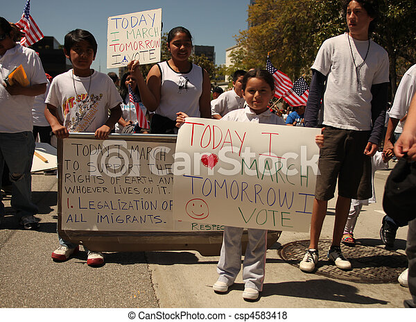 LOS ANGELES - May 1: May Day Immigration Protest Rally Against Arizona's New Law in Los Angeles, California. - csp4583418