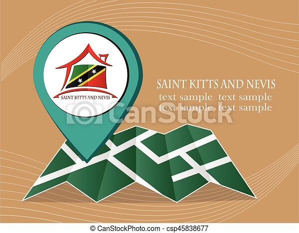 map with pointer flag Saint Kitts and Nevis vector illustration eps 10. - csp45838677