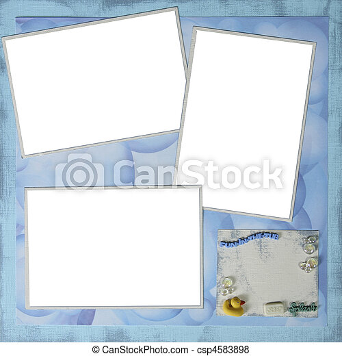Handmade Scrapbook Paper Page Layout to Insert Your Images - csp4583898