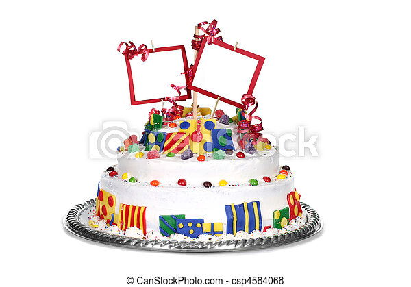Colorful Birthday Cake With Blank Space for Your Message - csp4584068