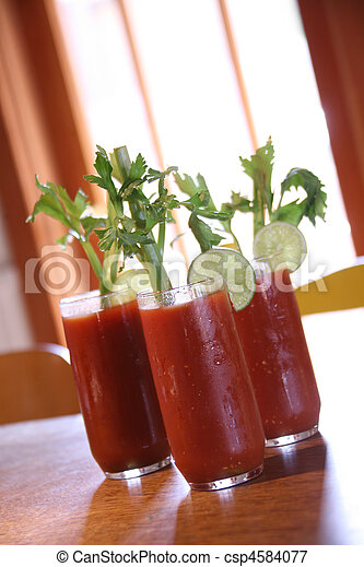 Three Bloody Mary Cocktail Drinks - csp4584077