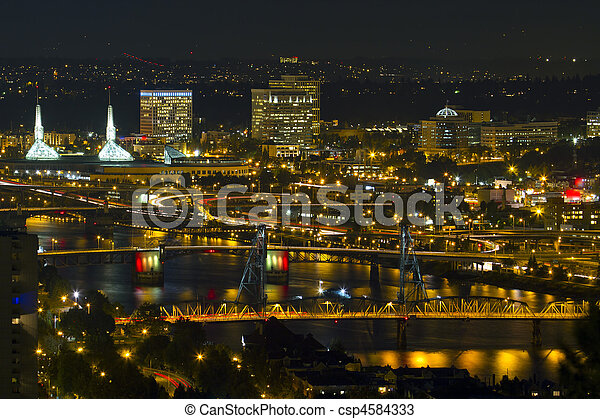 Bridges of Portland at Night - csp4584333