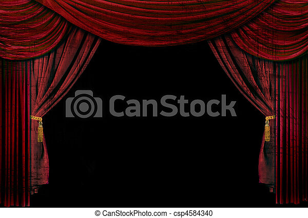 Old fashioned, elegant theater stage drapes - csp4584340