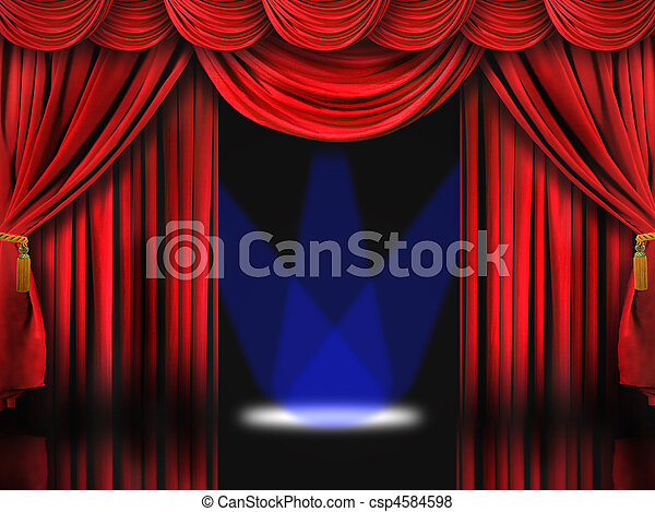 Red Theater Stage With Blue Spot Lights - csp4584598