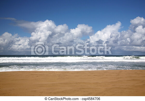 nadie, allí, playa, hawai, kauai - csp4584706