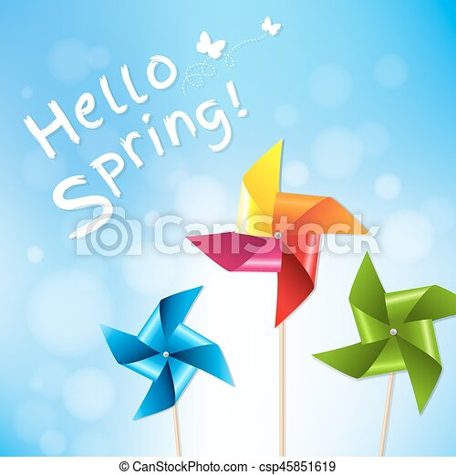 Colorful Pinwheels With Blue Sky Spring Poster - csp45851619