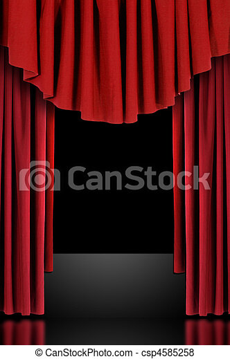 Red Theatre Stage Draped Curtains - csp4585258