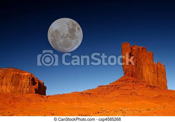 Buttes and Moon in Monument Valley Arizona - csp4585268