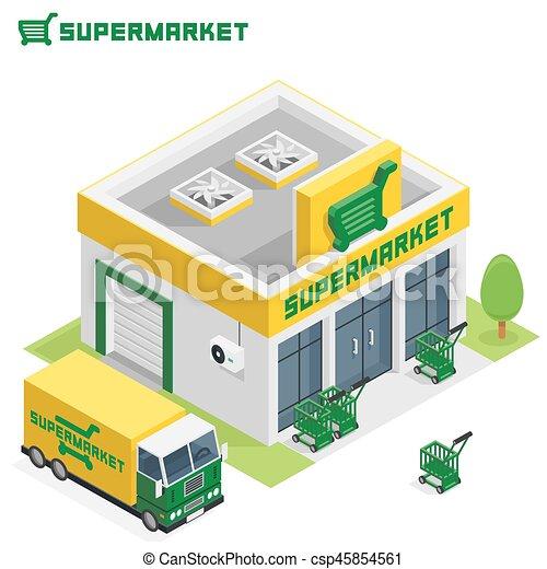 Supermarkt gebäude clipart  Clip Art Vektor von gebäude, supermarkt - Vector, isometrisch ...