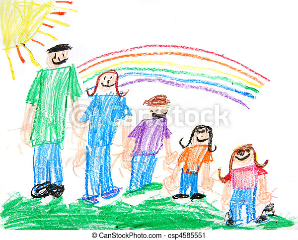 Kids Primitive Crayon Drawing of a Family - csp4585551
