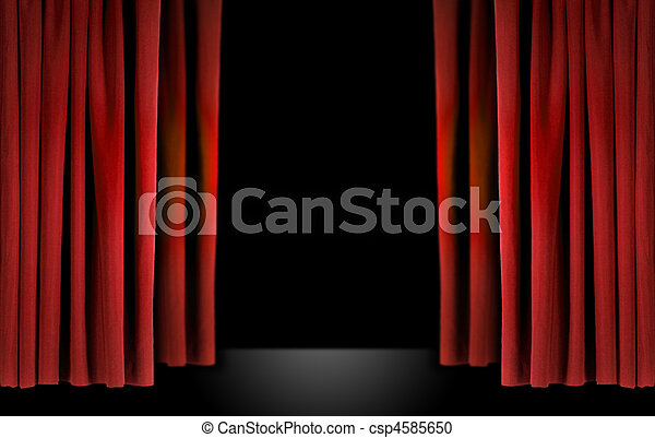 Elegant theater stage with red velvet curtains - csp4585650