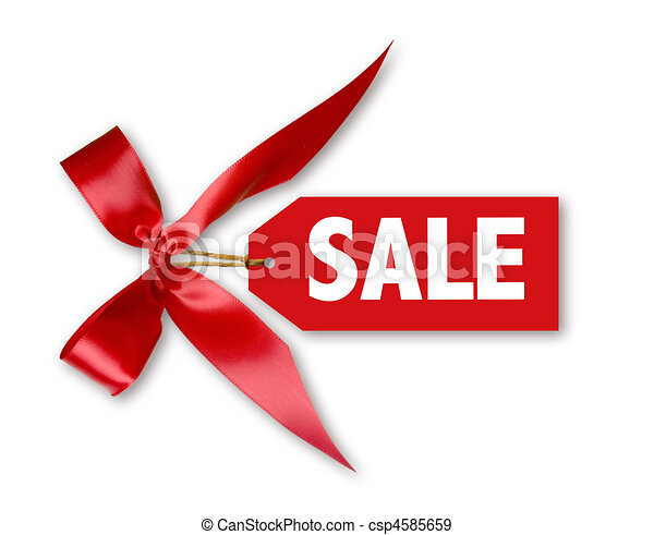 Sales Tag With Big Red Ribbon Bow Tied - csp4585659