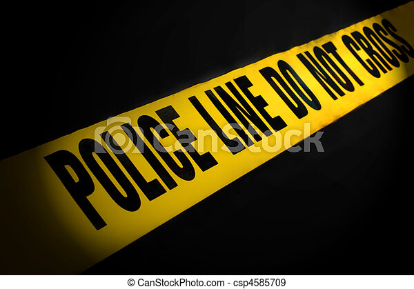 Police Line Tape on Black - csp4585709