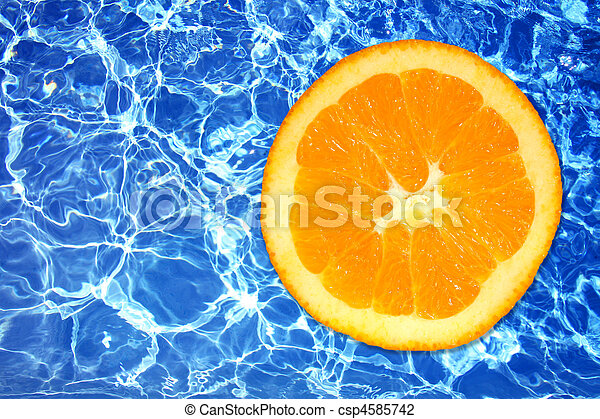 Sharp Icy Water and Orange Fruit - csp4585742