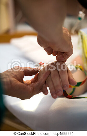 Drip on patients hand - csp4585884
