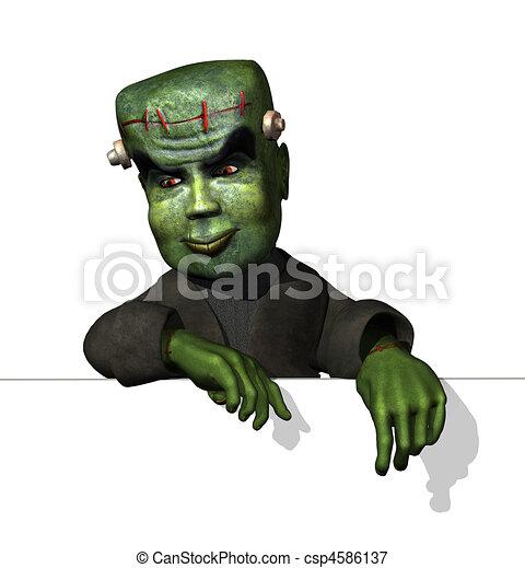caricatura, Frankenstein, borde - csp4586137