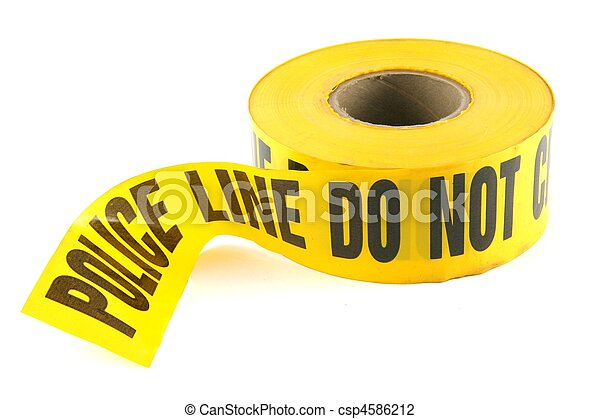 Police Tape Do Not Cross on White Background - csp4586212