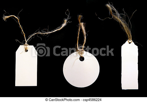 White Tags With Twine on Black Background - csp4586224