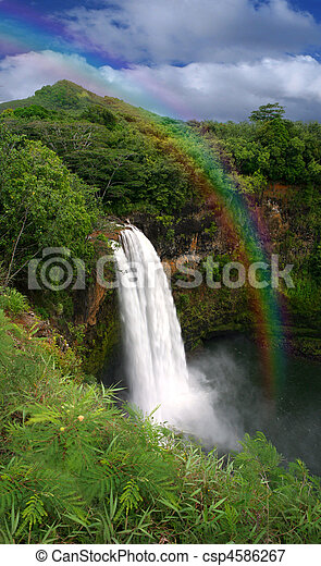 Waterfall in Kauai Hawaii With Rainbow - csp4586267