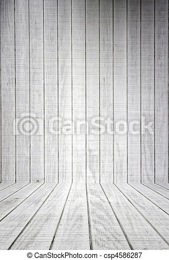 White Wood Planks With Floor - csp4586287