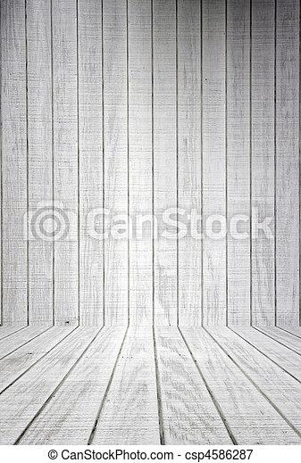 White Wood Planks With Floor - csp4586287