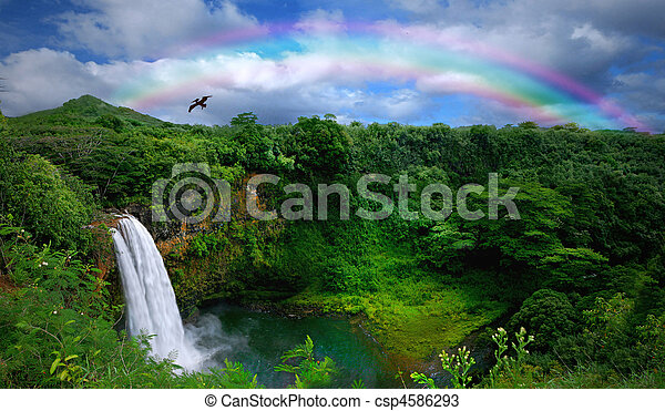 bonito, topo, cachoeira, havaí, vista - csp4586293