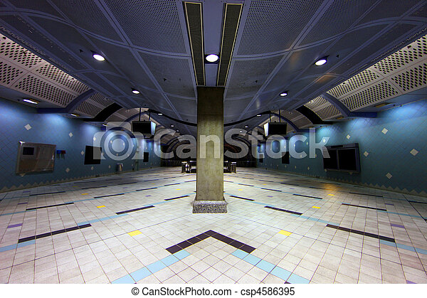 Modern Underground Transportation Corridor for A Subway Station in a Major Metropolis - csp4586395
