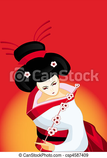 japanese geisha with a branch - csp4587409